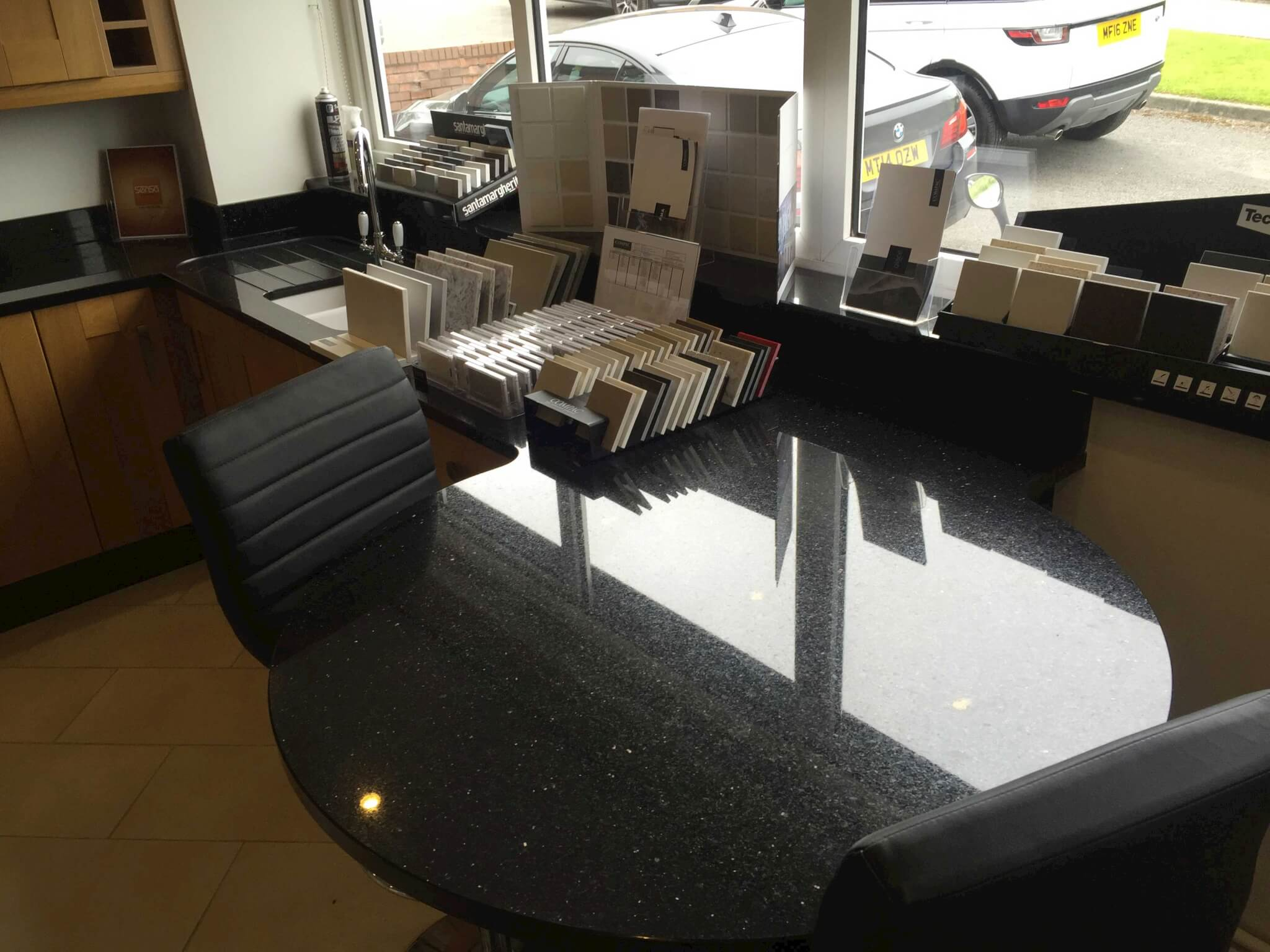 Start-galaxy-granite-showroom-shaped-worktop